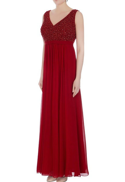 Marsala hand embroidered sequin gown