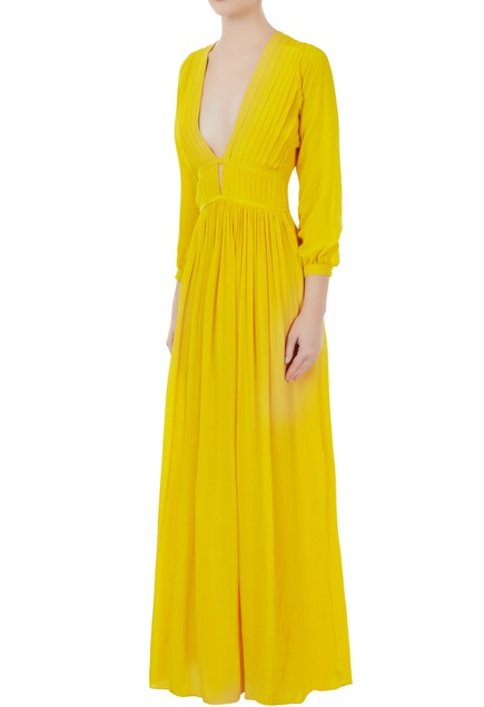 Yellow crepe silk pleated v-neck gown