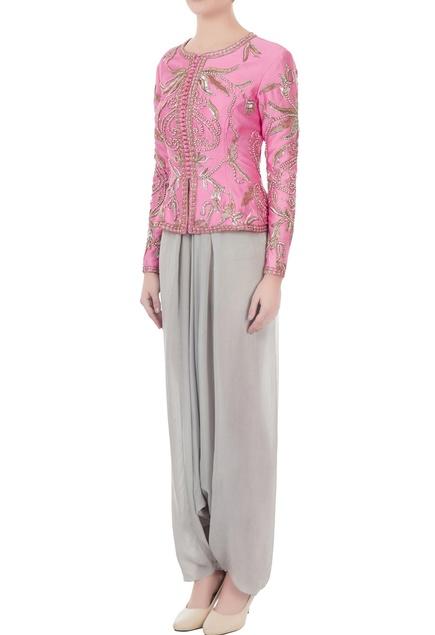 Pink & grey chanderi & crepe hand crafted nakshi, white pearl & bead work peplum jacket & dhoti pants