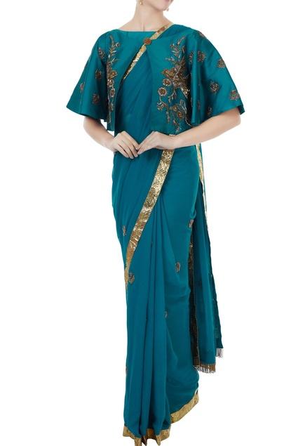 Sea blue georgette & tafetta hand crafted zardozi saree with bustier & cape