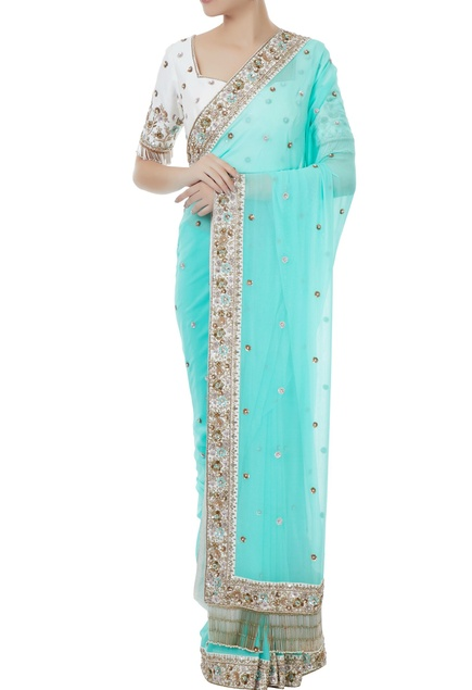 Ice blue & white georgette & tafetta hand crafted zardozi & bead work tassels saree with blouse