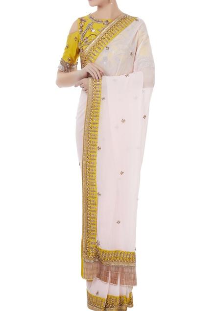 White & sulphur yellow georgette & tafetta hand crafted zardozi & bead work tassels saree with cold-shoulder blouse