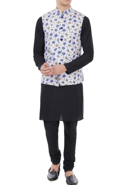 White & blue printed nehru jacket
