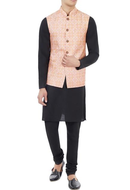 Pink & yellow printed nehru jacket