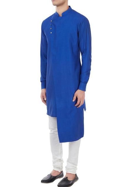 Royal blue spun silk kurta