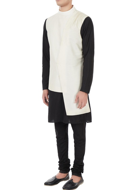 Cream raw silk asymmetric turtleneck collar jacket