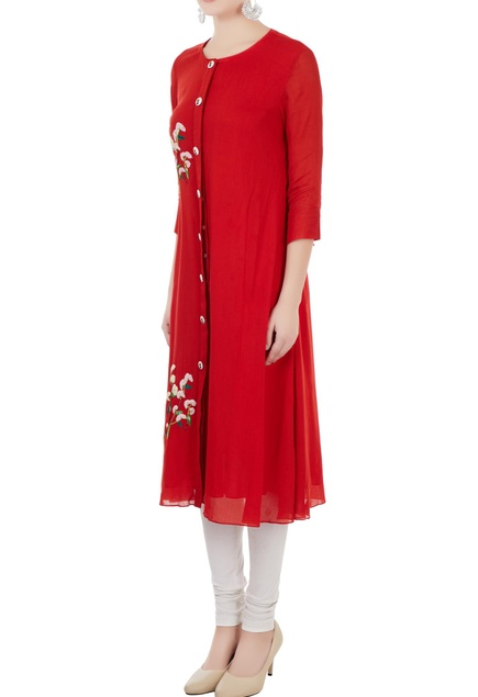 Red geet hand embroidered kurta