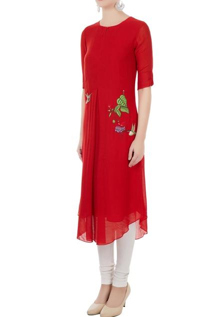Red hand & machine embroidered kurta