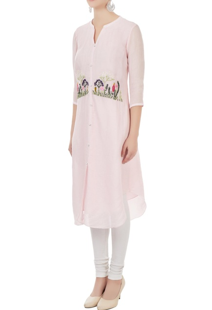 Pastel pink hand & machine embroidered kurta