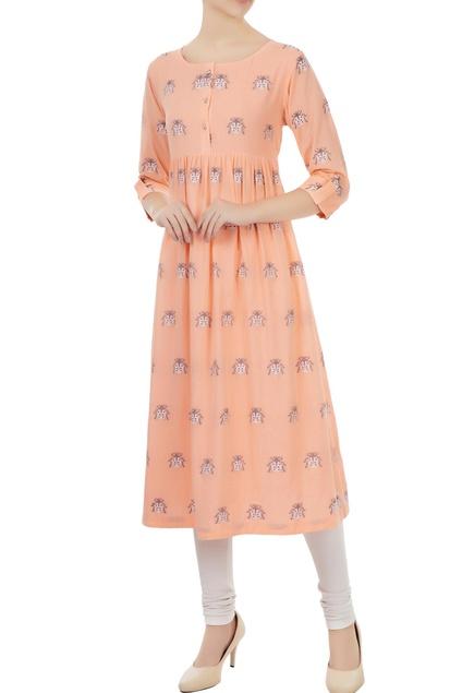 Tangerine cotton jamdani ladybug weave tunic