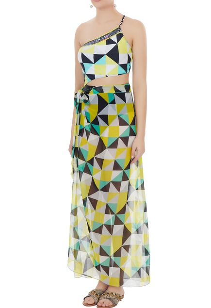 Yellow georgette graphic print sarong skirt