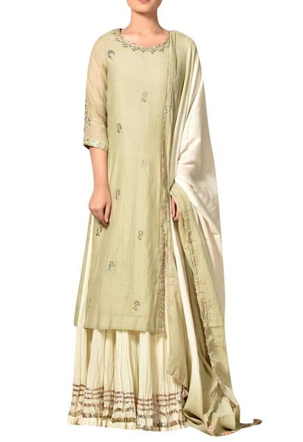 Mint green gota embroidered kurta with crinkled ivory skirt & dupatta