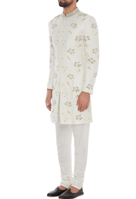White silk hand embroidered sherwani with trousers