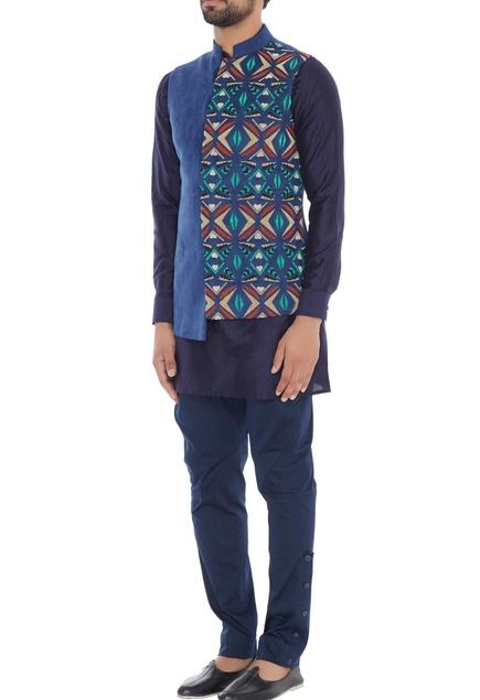 Royal blue suede dual patterned nehru jacket