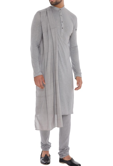 Grey hand-woven organic cotton & bamboo fabric draped kurta