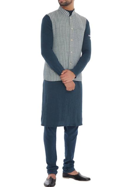 Grey stripe organic cotton & bamboo fabric nehru jacket