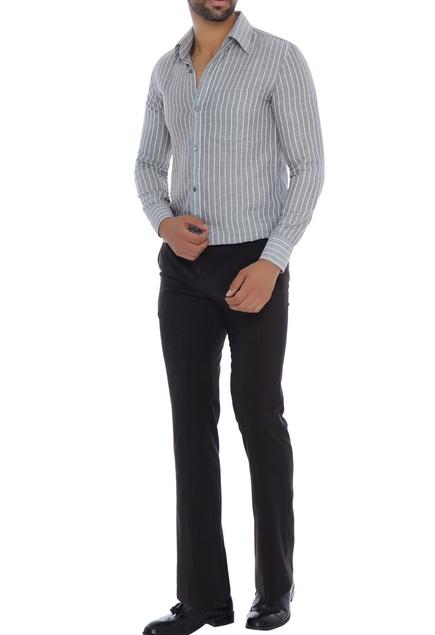 Grey pinstripe collar shirt