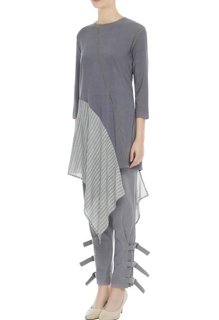 Grey organic cotton & bamboo fiber asymmetric kurta