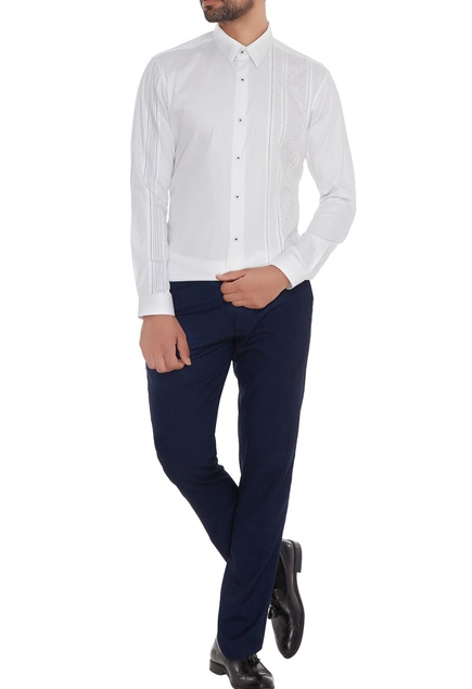 White cotton machine embroidered slim fit shirt
