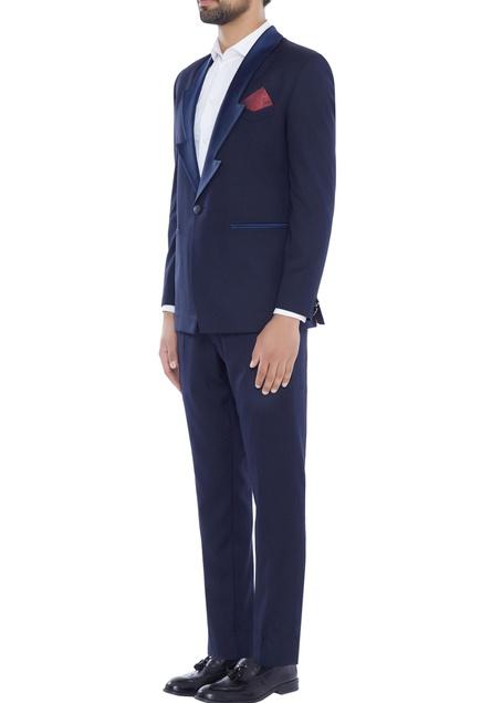 Blue zigzag lapel tuxedo jacket with pants