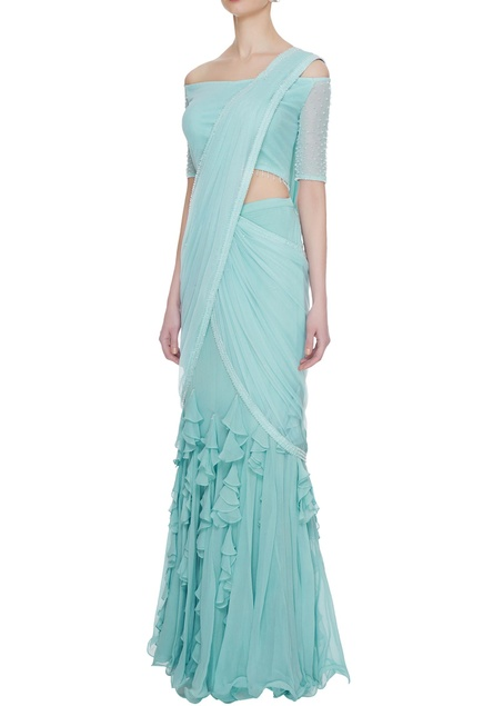 Mint blue georgette & tulle ruffled pre-stitched lehenga saree with blouse