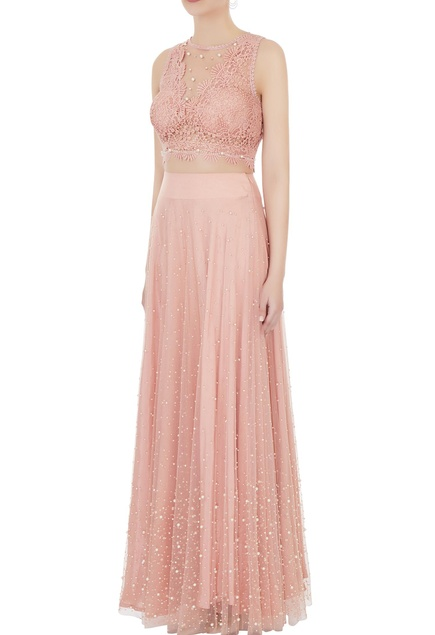 Peach lace & net blouse with pearl lehenga