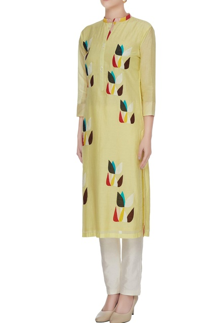 Yellow cotton silk kurta with multicolored floral patchwork