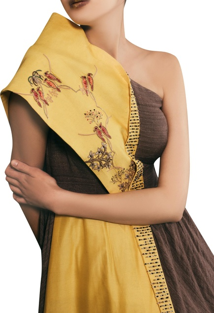 Tonic yellow chanderi hand embroidered one-shoulder gown