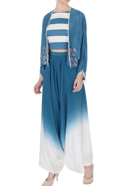 Sea blue & white silk chanderi & crepe striped crop top with cowled pants & draped jacket