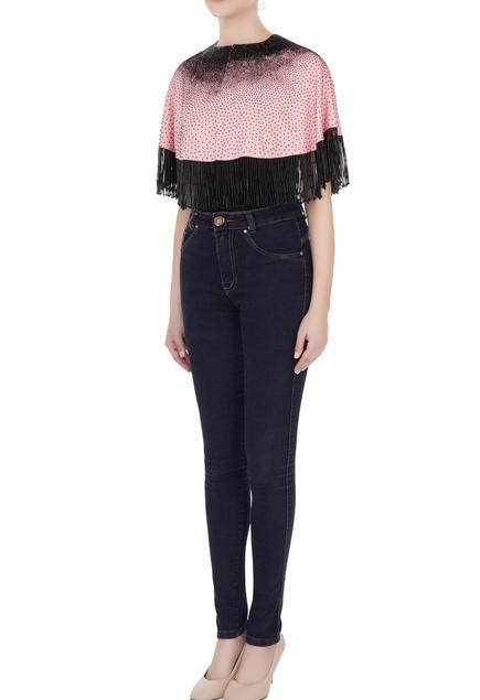 Pink & black silk linen cutdana embroidered crop top