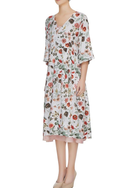 Off-white floral printed dress with slip dress