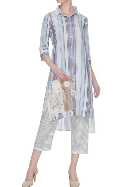 Blue striped applique tunic shirt dress