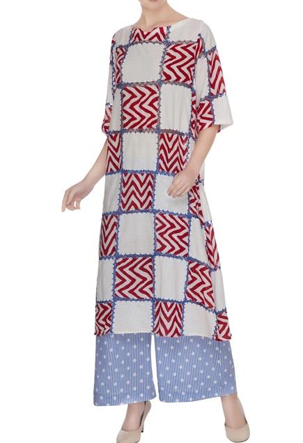 Blue printed tunic with polka dot palazzos