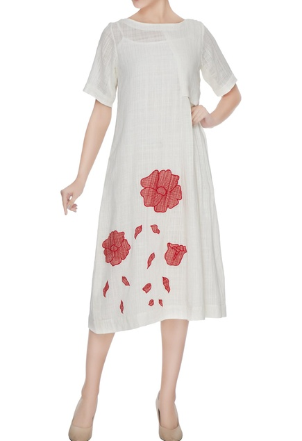 White floral applique work dress