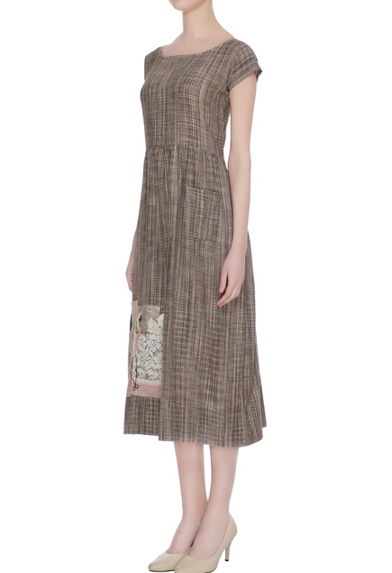 Brown check dress with flamingo applique work