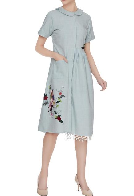 Blue peter pan collar midi dress in hand applique work