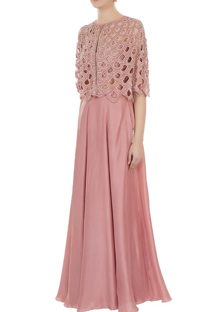 Old rose embroidered georgette cut-out cape with blouse & silk skirt
