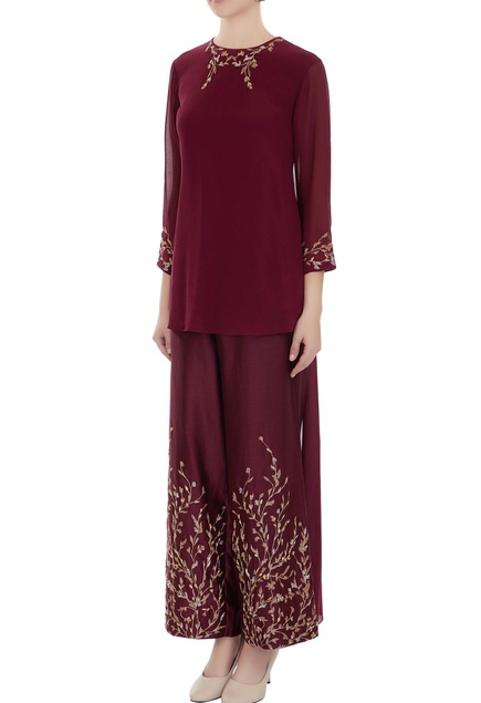 Oxblood embroidered georgette high-low kurta with chanderi pants