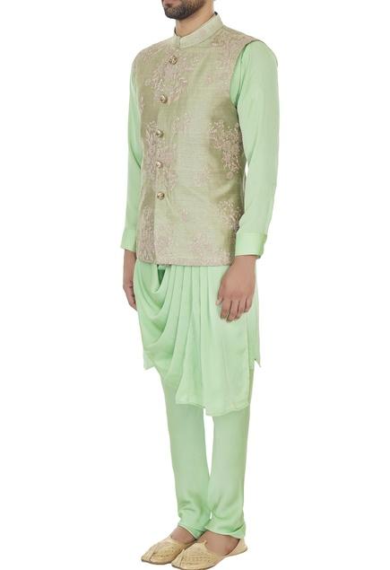 Light green raw silk zari embroidered bundi