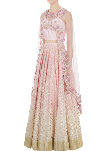 Lilac dupion silk dori & sequin blouse with chanderi lehenga & net cape