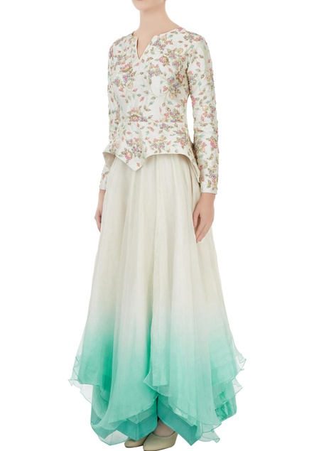 Ivory dupion silk dori & sequin jacket with organza skirt