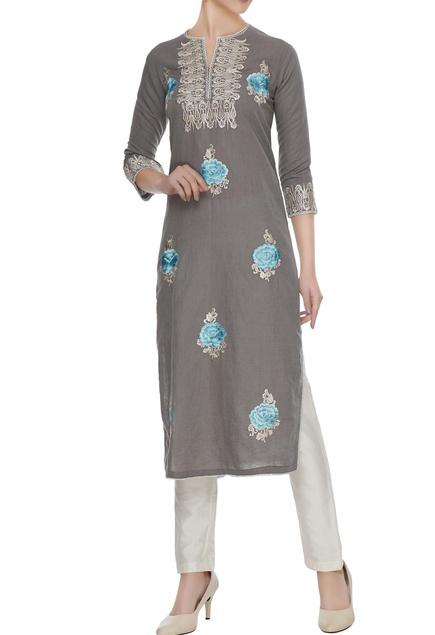 Grey linen zari & resham thread embroidered floral kurta
