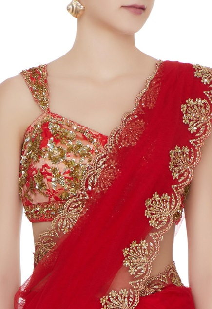 Red net sequin embroidered & zari saree with lace blouse