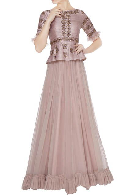 Lilac peplum layer hand embroidered raw silk & chiffon gown