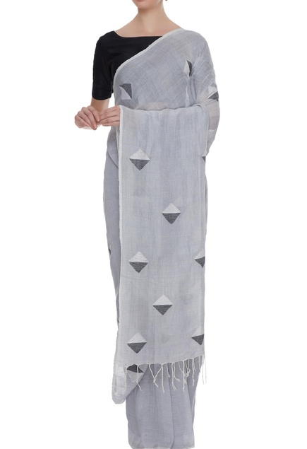 Pale grey cotton linen jamdani saree with blouse piece