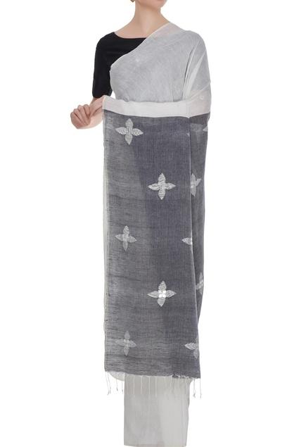 White linen mirror work saree with blouse piece