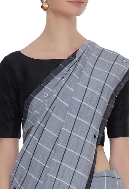 Pale grey cotton linen mirror work saree with blouse piece