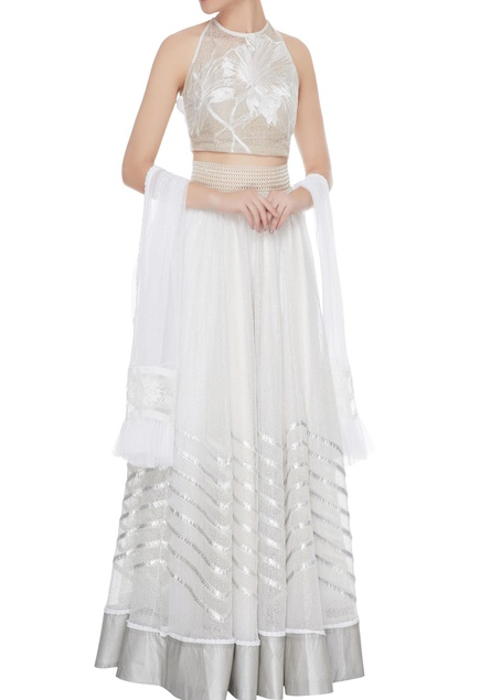 White & silver jaali work lace lehenga with embroidered blouse & sheer dupatta