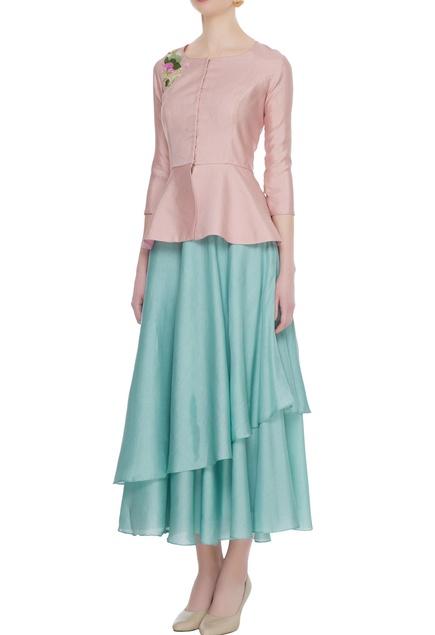 Pastel blue layered skirt with peplum blouse & cancan underlayer