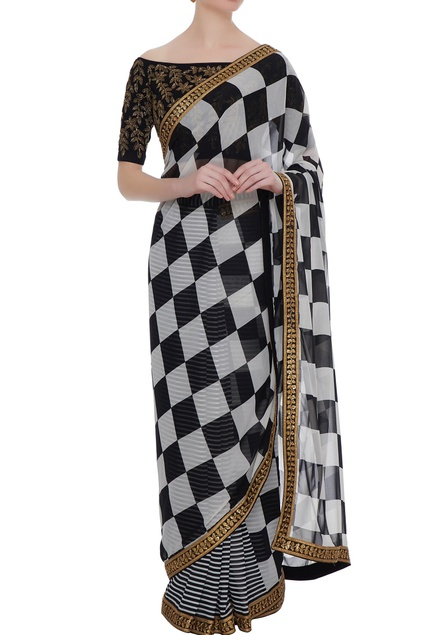 Black & white georgette pipe & bead work pre-stitched saree with blouse